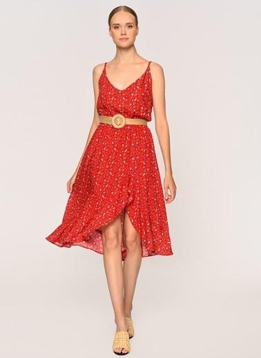 Loves You Eteği Volan Yırtmaçlı Askılı Emprime Viskon Elbise Kırmızı